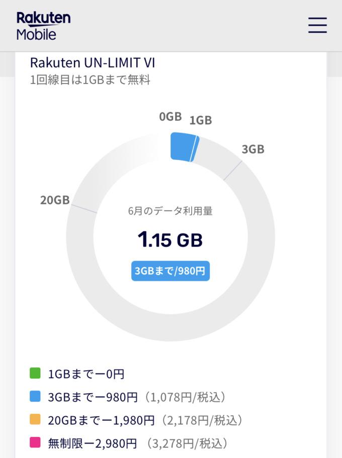 データ通信量が1GBを超過